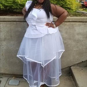 White Ashley Stewart outfit